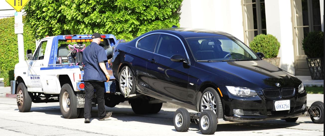 media car being towed